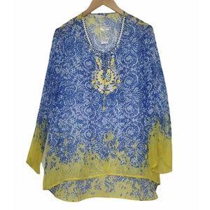 Soft Surroundings Beaded Tassels Embellished Grasse Sheer Tunic Size L